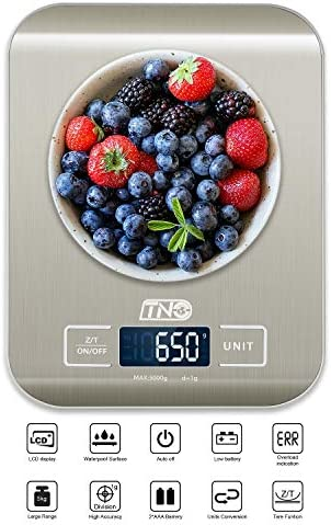 Digital Kitchen Food Scale, TNO Multifunction Stainless Steel Scale, LCD Display, 11LB/5KG, Sliver (Included Batteries) 5