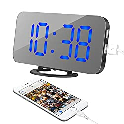 Alarm Clock, LED Digital Clock with 6.5 Large Display, Dual USB Charging Ports, Easy Snooze Function, Diming Mode, Mirror Surface Clock for Bedroom Living Room Office Travel (Blue Digital)