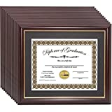 Creative Picture Frames CreativePF [11x14mh.gd] Mahogany Frame with Gold Rim, Black Matting Holds 8.5 by 11-inch Diploma with Easel and installed Hangers (12-Pack)