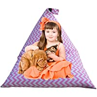 Kids Bean Bag Chair, Extra-Large Toy Storage Capacity with Triangular Shape Cover Create Comfortable Bean Bag Bed for Girls and Boys Bedroom (COVER ONLY) - Chevron Print Pink, 38' x 54'