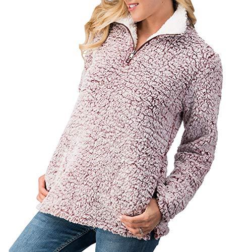 Love Tree Women's Sherpa 1/4 Zip Pullover Fleece Sweatshirt Long Sleeves (Wine, S) ()