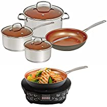 NuWave Duralon Ceramic Nonstick 7pc Cookware Set with PIC Cooktop and 9 Fry Pan