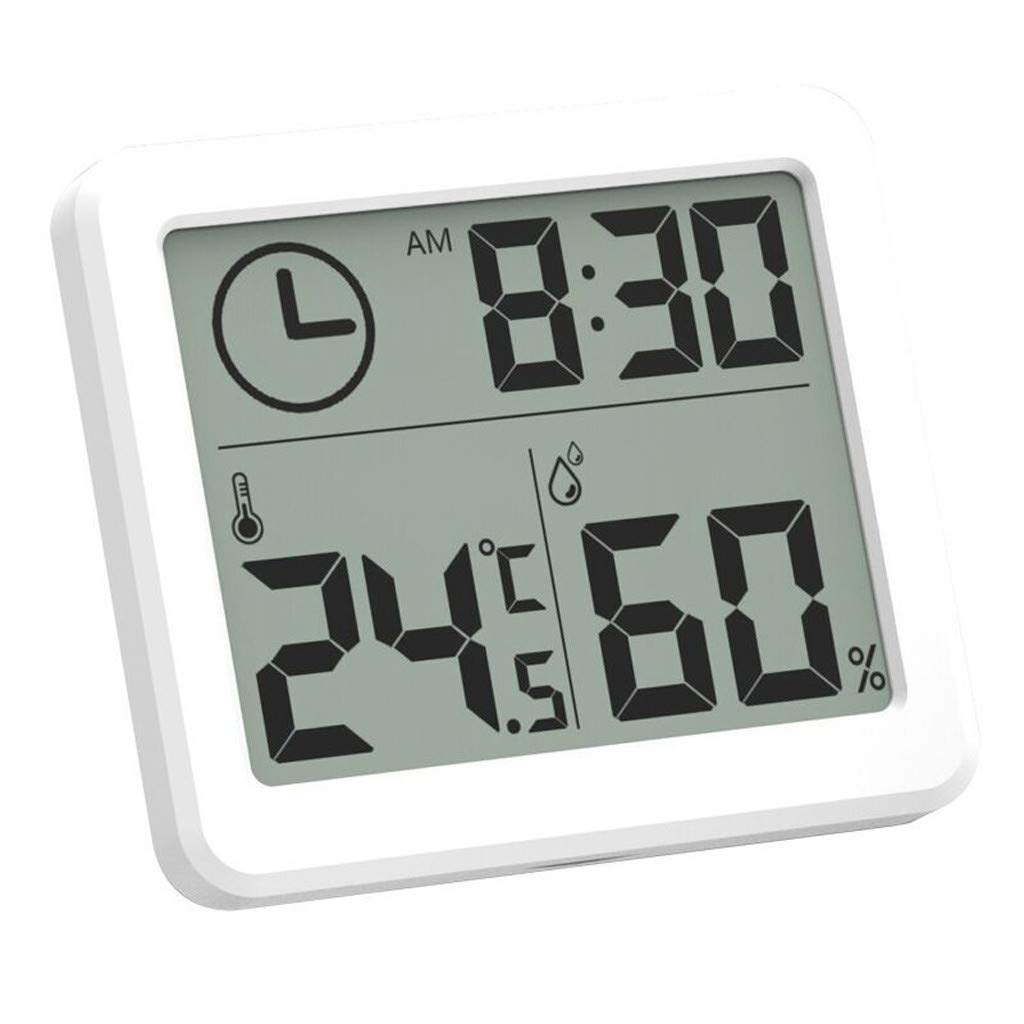 Trimakes Indoor Thermometers Digital LCD Thermometer Hygrometer Humidity Meter Room Indoor Temperature Clock