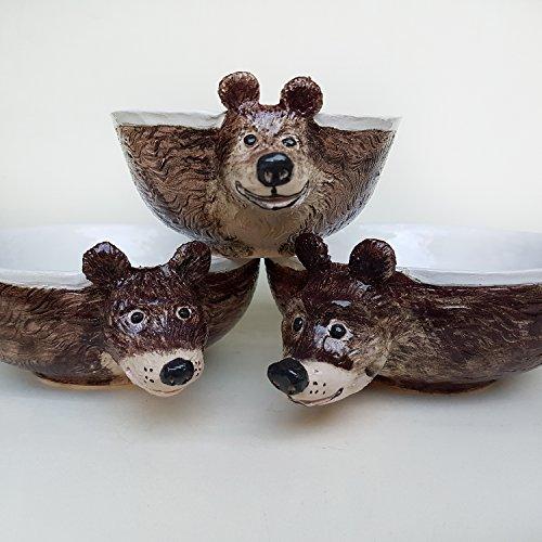 Three bears Ceramic Bowls Set, Hand built Ceramic pasta bowl, salad bowl, serving bowl, planter,children tableware ()