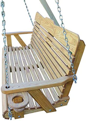 Ecommersify Inc ROLL Back Amish Heavy Duty 800 Lb 4ft. Porch Swing with Cupholders – Cedar Stain – Made in USA