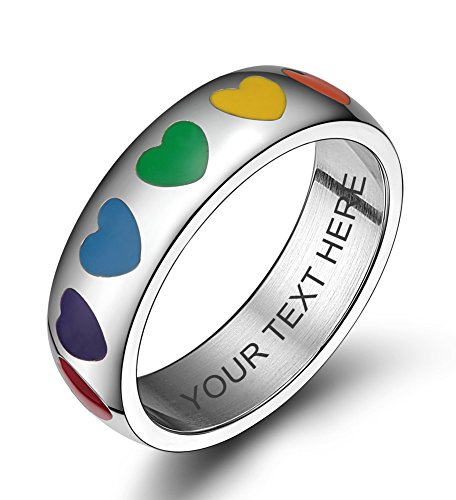 VNOX Free Engraving-Stainless Steel Rainbow Heart Enamel Wedding Band Engagement Ring for Gay Lesbian,Size 8 by VNOX
