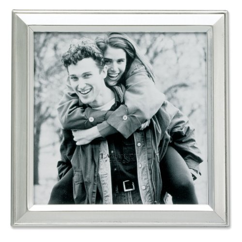 (Lawrence Frames Brushed Silver Plated 5 by 5 Metal Picture Frame)