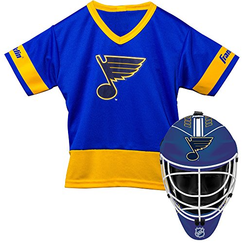 Louis Blues Mini Hockey Helmet - Franklin Sports St. Louis Blues Kid's Hockey Costume Set - Youth Jersey & Goalie Mask - Halloween Fan Outfit - NHL Official Licensed Product