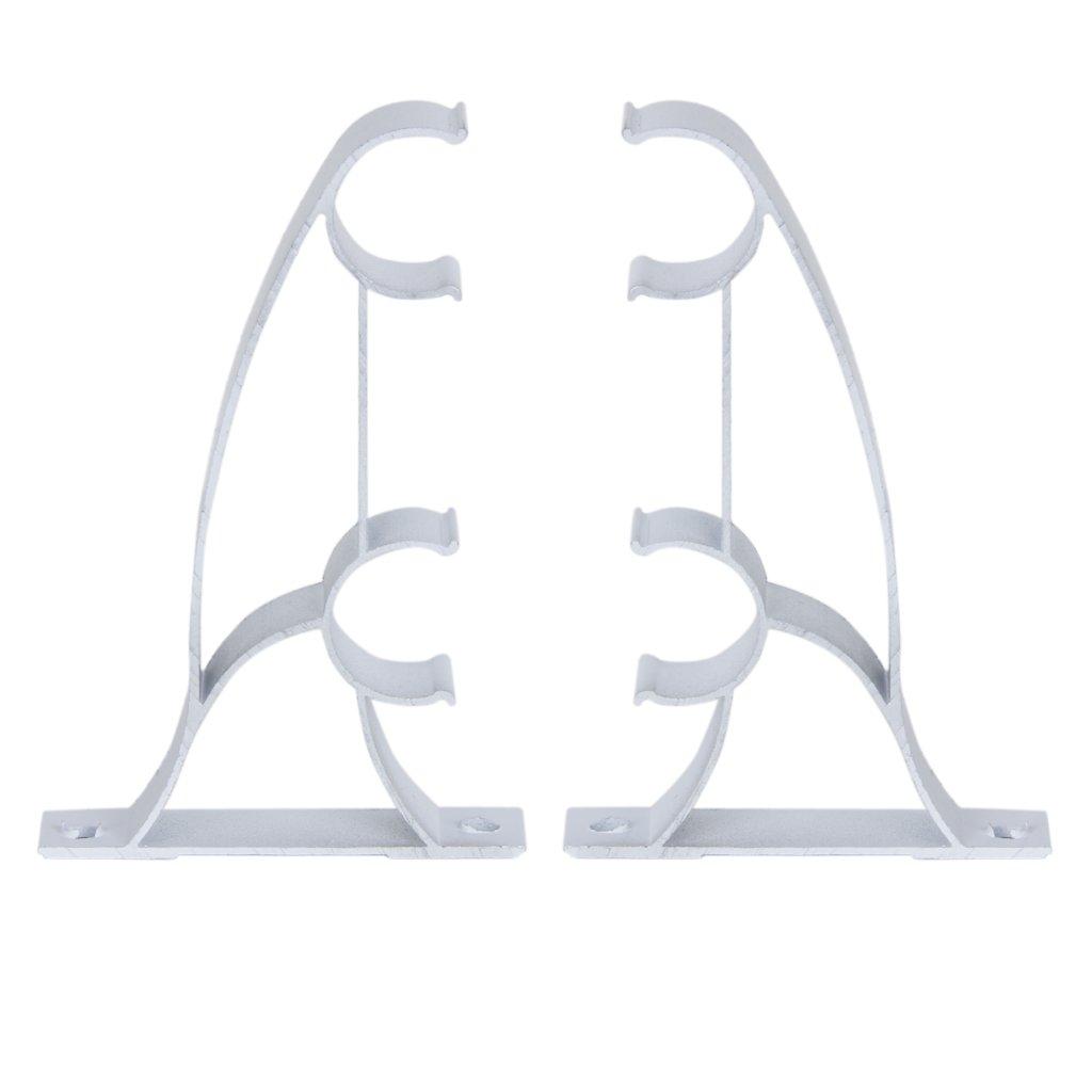 2pcs Metal Double Curtain Drapery Rod Bracket for 25mm Drape Rods - White Generic BHBA897