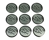 100 Silver Double Hearts Print Wedding Round Envelope Seal Stickers 1 inch Diameter