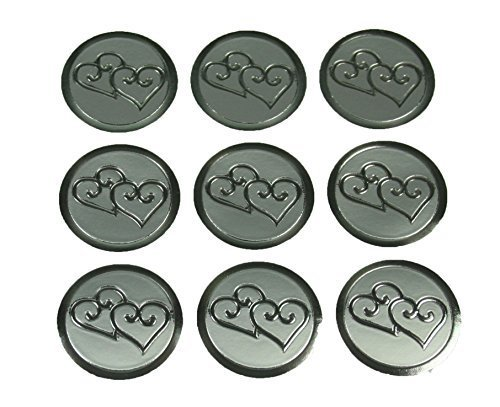 100 Silver Double Hearts Print Wedding Round Envelope Seal Stickers 1 inch Diameter ()