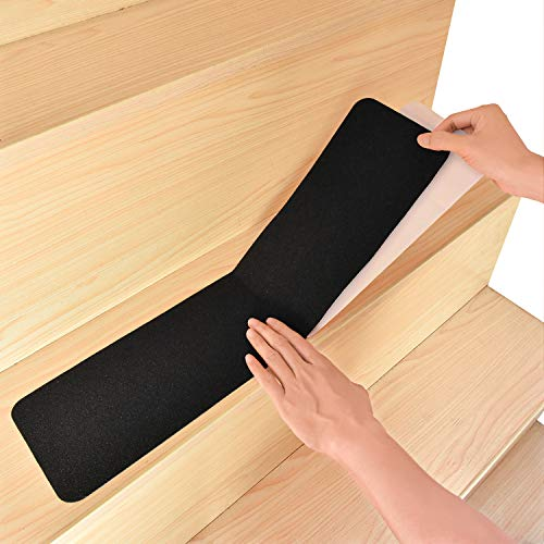 MBIGM Pack of 8 Non-Slip Safety Step Tapes Wood Stair Treads Floor Track Sticker 80 Grit for Skateboard & Outdoor & Staircase, Black (6