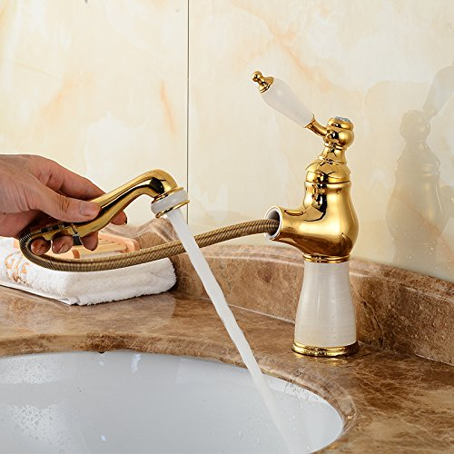 A Makej Basin Faucet European Retro Marble Water Mixer Taps Swivel 360 Degree Pull Out Single Handle R
