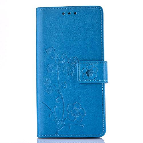 Ecoway Schutzhülle / Cover / Handyhülle / Etui für Samsung Galaxy S5 I9600 G900 Prägemuster Design Folio PU Leder Tasche Case Hülle im Bookstyle mit Standfunktion Kredit Kartenfächer - blau