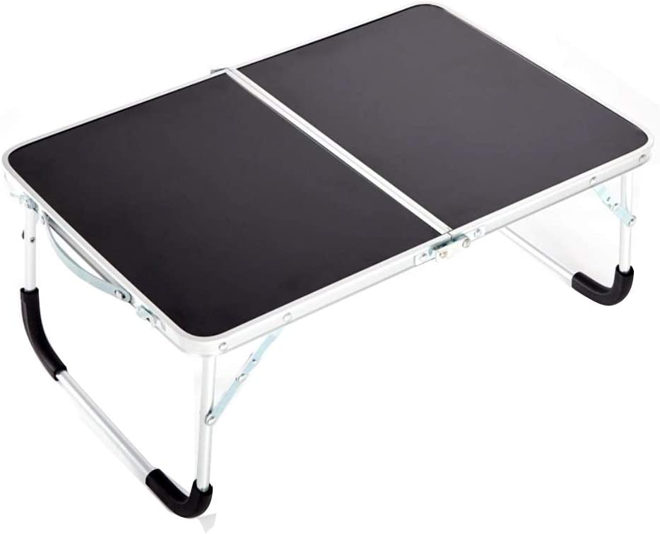 Amadj Foldable Laptop Table,Portable Standing Bed Desk, Bed Desk, Breakfast Serving Bed Tray, Portable Mini Picnic Table & Ultra Lightweight, Folds in Half with Inner Storage Space