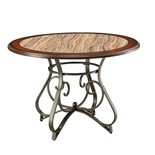 Oak Veneer Top Table (Faux Marble Dining Table with Accent Metal Legs, Traditional Style, Oval Shape, Suitable for Kitchen, Dining Room, Restaurant, Bronze and Cherry Finish + Expert Guide)