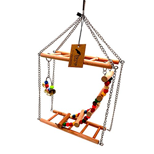 Borange Bird Cage Parakeet Toys Wood Perch Cockatiel Platform Conure Playpen Natural Playground Stand Cage for Small Birds Budgie Finches Lovebirds Cage Accessories by Boranges