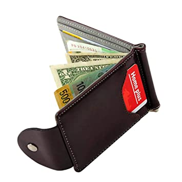 Luxury Men/'s Leather Money Clip Slim Wallet ID Credit Card Holder Coin Purse~