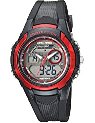 Armitron Sport Unisex 25/6429RBK Red Accented Analog-Digital Chronograph Black Resin Strap Watch