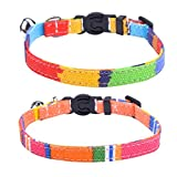 PUPTECK 2 pcs/set Breakaway Cat Collar Canvas Safe Kitten Puppy Collars with Bell Adjustable