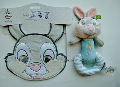 Disney Thumper the Bunnie Plush Rattle for Baby & Matching Bib