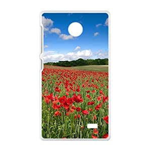 Fire Red Flowers Fields White Phone Case for Nokia Lumia X