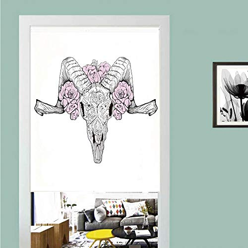 3D printed Magic Stickers Door Curtain,Skull Decorations,Bones of a Lamb with Rose Flowers Spiritual Oriental Creepy Boho Graphic,Lilac Grey ,Privacy Protect for Kitchen,Bathroom,Bedroom(1 Panel) ()