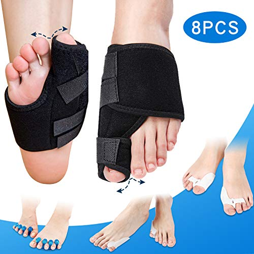 Bunion Corrector and Bunion Relief Kit, Orthopedic Bunion Splint, Big Toe Corrector Straightener Brace, Toe Separators Spacers Straighteners, Hammer Toe, Toe Joint Pain Relief Aid for Men and Women