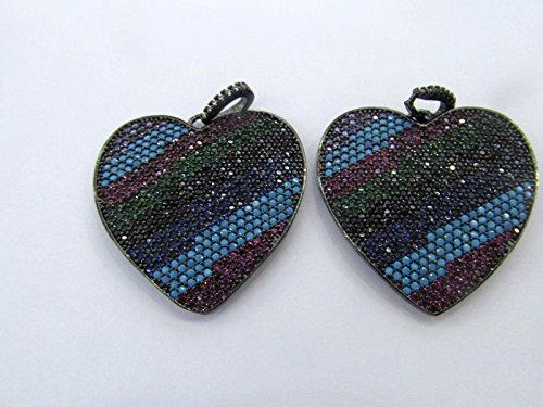 Rainbow Diamond Crystal Eyes Micro Crystal heart Pave Diamond Pendant gunmetal Jewelry Focal Round Disc Evil Jewelry beads 28mm 2pcs