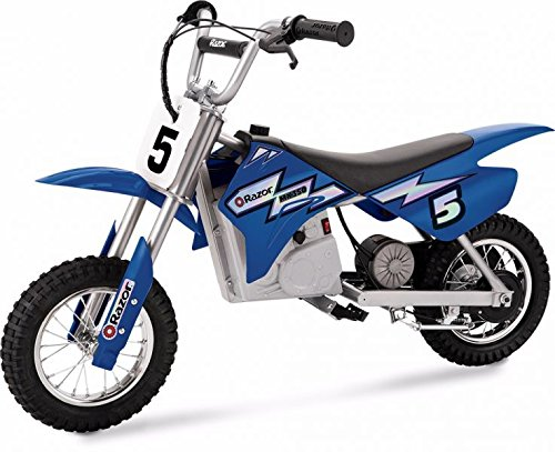 Razor MX350 Dirt Rocket Electric Motocross Off-road Bike for Age 13+, Up to 30 Minutes Continuous Ride Time, 12″ Air-filled Tires, Hand-operated Rear Brake, Twist Grip Throttle, Chain-driven Motor