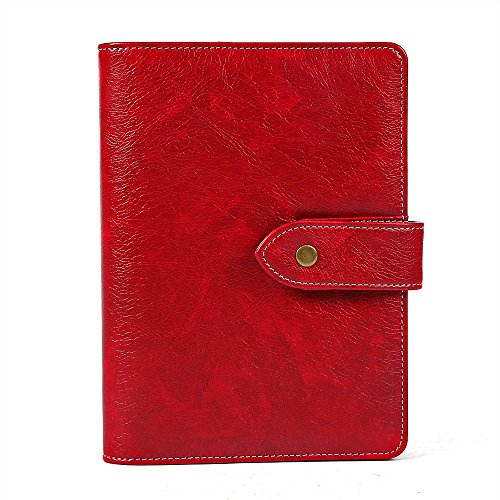 Leather Writing Notebook Organizer, Travel Journal, Vintage Business Binder Refillable Steno Memo Notepad Planner Diary, 7 in, Lined Paper, Card Slots, Pen Holder, Adjustable Snaps, Retro Red ()