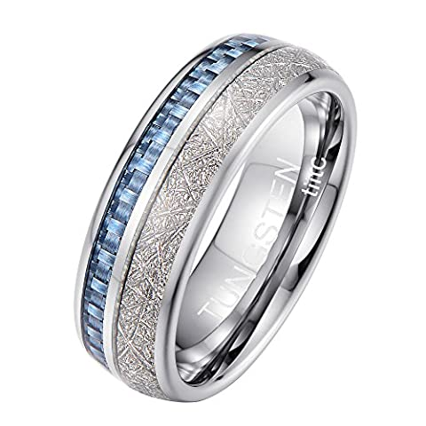 Tiitc Rings for Men and Women Tungsten Carbide Meteorite with Blue Carbon Fiber Inlay Wedding Engagement Band 8mm (10)