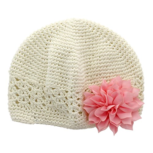 My Lello Infant Baby Girls Crochet Beanie Hat with Flower Ivory/Light Pink