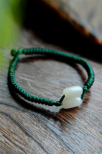 Old Green Jade Bracelet Bangle - Generic Natural and nephrite hand chain bracelet bangle wristband old material with shape green jade beads hand chain bracelet bangle wristband women girls lady models literary retro jewelry