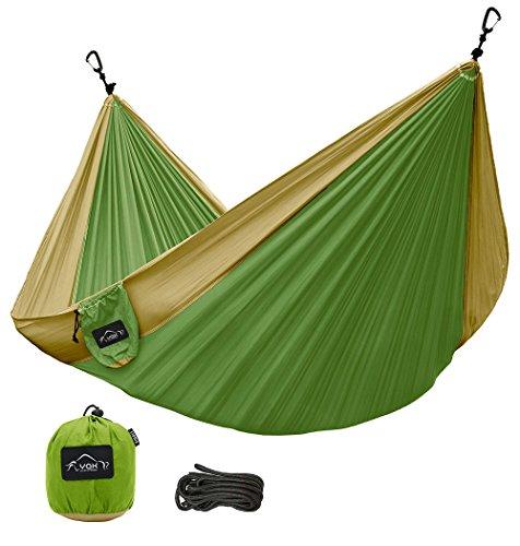 Olive Green Football (Lamoo Single Camping Hammock - Ultralight Portable Nylon Parachute Hammocks for Backpacking, Travel, Camping, Beach, Tree Ropes & Aluminum Wiregate Carabiners Included (Olive)