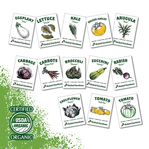 Heirloom Vegetable Seeds - 13 Varieties of Organic Non-GMO Open Pollinated Garden Seed for Planting - Weird and Rare Varieties Perfect for Kids and School Gardens