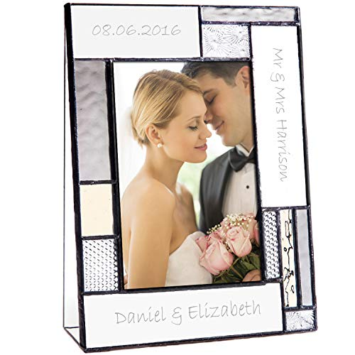 Wedding Picture Frame Personalized Gift for Couple Engraved Glass Table Top 4x6 Vertical Photo Engagement Keepsake J Devlin Pic 392-46V - Tabletops Etched Glass