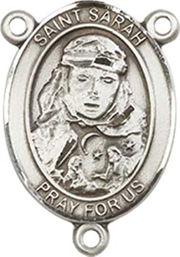 Sterling Silver Saint Sarah Rosary Centerpiece Medal, 3/4 Inch