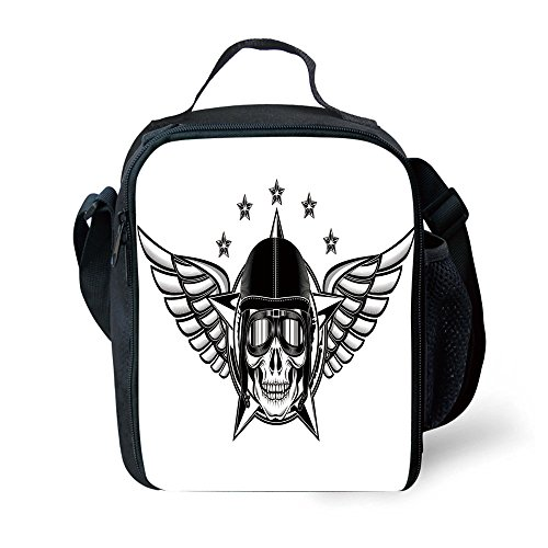 (IPrint School Supplies Skull,Skull Pilot with Eagle Wings and Stars Fast Day of the Dead Bones Print,Black White for Girls or boys Washable)
