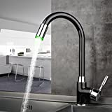 LED 3 Colors Light Black Swivel Kitchen Faucets Deck Mounted Single Hole Bathroom Faucets Mixer Tap