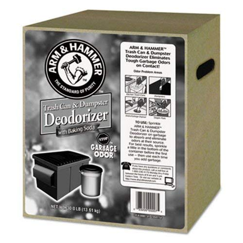 Arm & Hammer 33200-00007 Trash Can & Dumpster Deodorizer, Unscented, Powder, 30 Lb