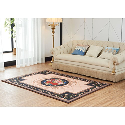 Chunyi Digital Printed Elegant Design Collection Contemporary Living Room And Bedroom Soft Area Rugs Carpet (5'x7', Flowers) (Target Purple Rugs Area)