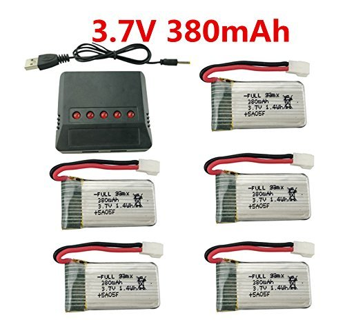 sea jump 5PCS 3.7V 380mAh 25C Battery+X5 Charger for Hubsan X4 H107,H107C,H107L,Syma X11 X11C,Holy Stone HS170 HS170C F180C HS170G TOZO Q2020 EACHINE E016H E016F Compatible Walkera Super CP (Best Battery For Hubsan X4 H107l)