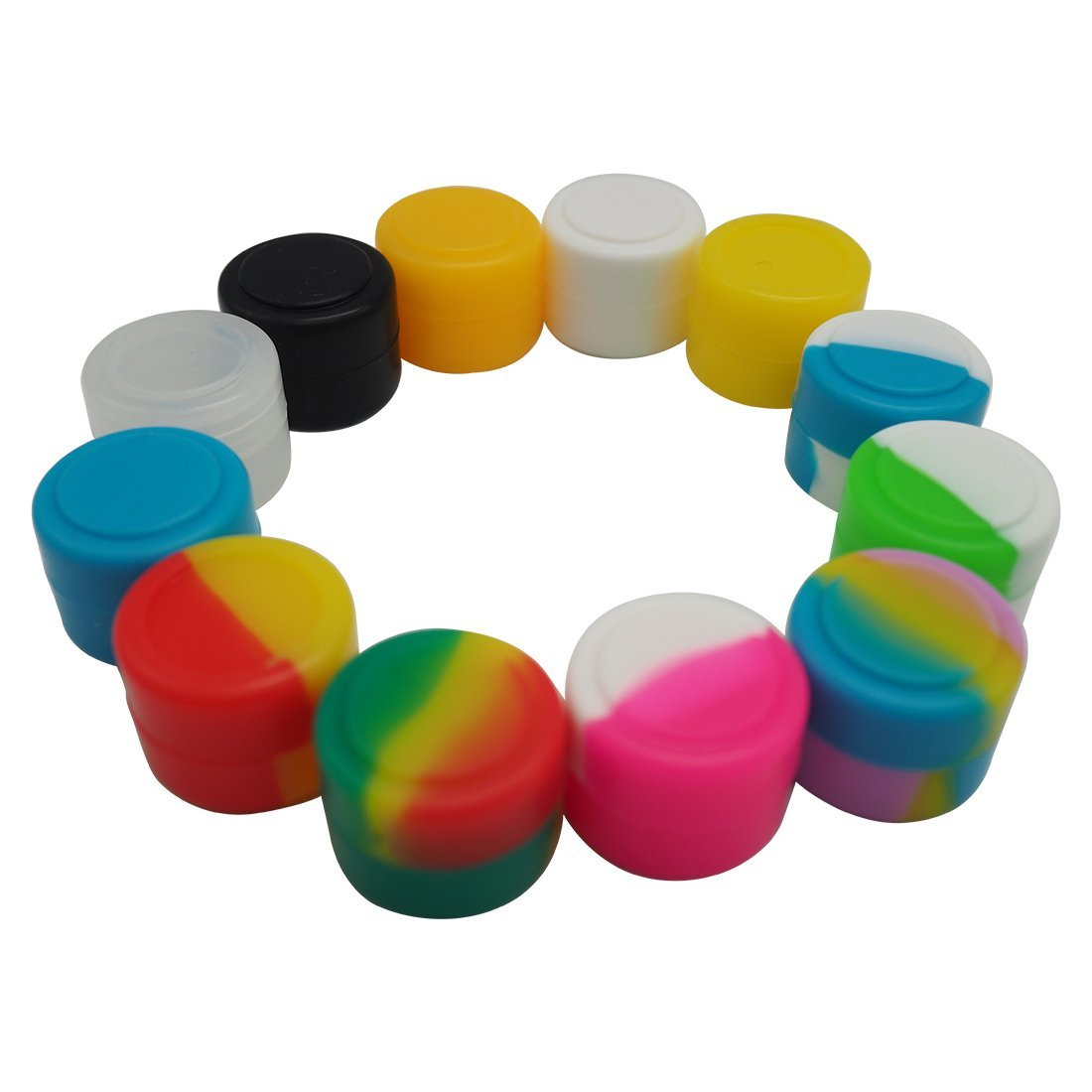 Gentcy Silicone 2ml 100pcs Silicon ContainersJar Seals Oil Wax Concentrate 13Color