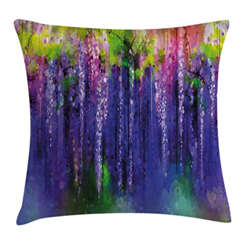 Flower Throw Pillow Cushion Cover by Lunarable, Ornamental Wisterias Down Seed of Life Cultivation Botany Artwork Pattern Print, Decorative Square Accent Pillow Case, 36 X 36 Inches, Purple - Downs Botany