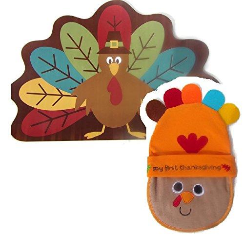 Babys First Thanksgiving Bib, Hat, and Placemat Bundle - Thanksgiving Placemat