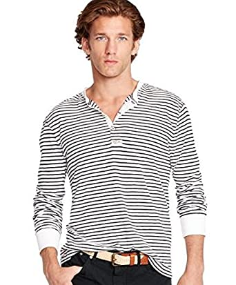Polo ralph lauren men 39 s striped henley shirt at amazon men for Mens collared henley shirt
