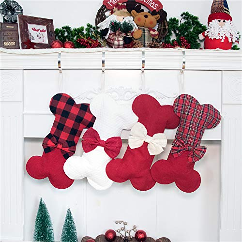 2019 NEW Linen Dog Bone Cartoon Holidays Christmas Stockings Jute Natural Burlap-16 inches x 8 inches 1# Red Check