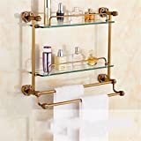LAONA All copper antique European style horn base, bathroom fittings, rack, towel rack, toilet paper rack,Shelf 2 A 58cm