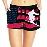 American Flag With Skiing Player Women Sexy Hot Pants Summer Casual Elastic Waist Beach Shorts L